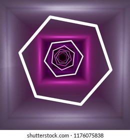 Abstract white and violet lights. 3d rendering