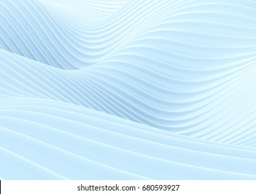 Abstract white wave background. 3D illustration.