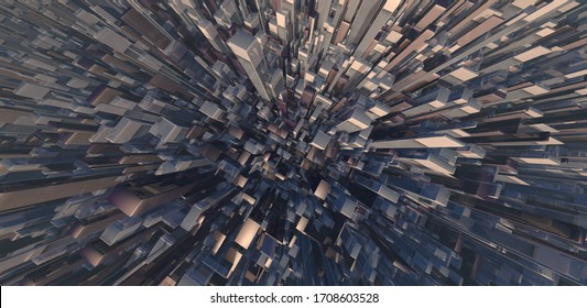 Abstract wide angle cityscape. Stock Market Crash. Science fiction megacity. Free fall from a skyscraper. 3D rendering