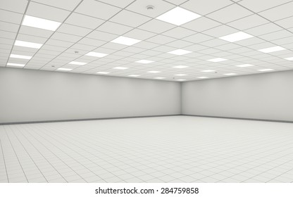Abstract wide empty office room interior with white walls, ceiling illumination and floor tiling. 3d illustration