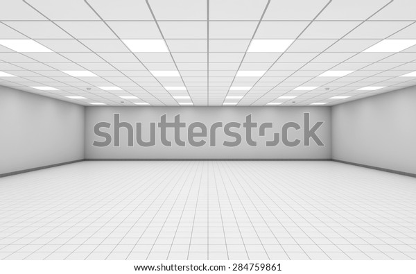 Abstract wide empty office room interior with white walls, ceiling illumination and floor tiling, 3d illustration