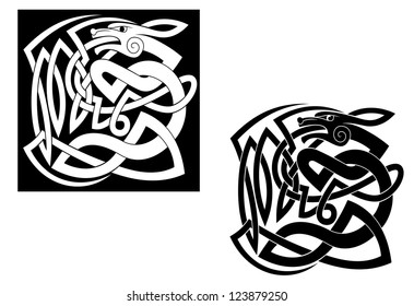 Abstract wild animal with ornamental elements in celtic style, such a  template. Vector version also available in gallery
