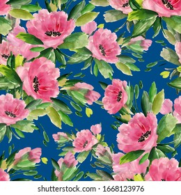 abstract wild flowers hand drawn seamless colorful pattern. Stylish print for textile design and decoration. Raster illustration.