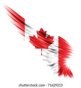 Abstract wing with Canada flag on white background