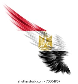 The Abstract wing with Egypt flag on white background