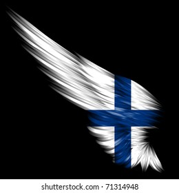 The Abstract wing with Finland flag on black background