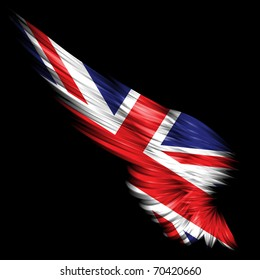 Abstract wing with United Kingdom flag on black background