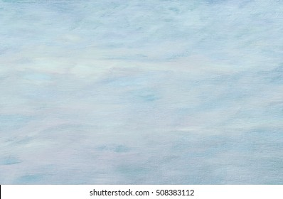 Abstract winter light blue oil painting background with brush strokes on canvas .
