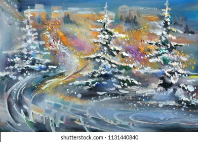 Abstract winter oil painting landscape