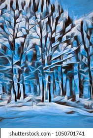 An abstract winter scene in the Poconos of Pennsylvania, transformed into a colorful digital painting