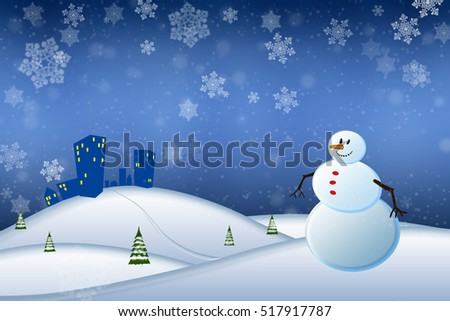 Abstract winter scene with a snowman and snowflakes - illustration