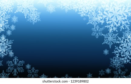 abstract winter snowflakes on a blue background
