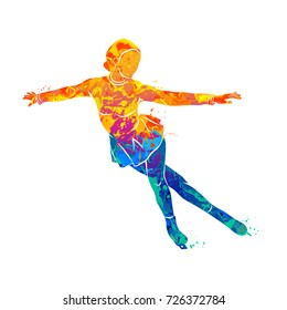 Abstract winter sport Figure skating girl from splash of watercolors. Photo illustration of paints.