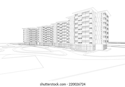 Abstract wireframe of a building, 3D rendering