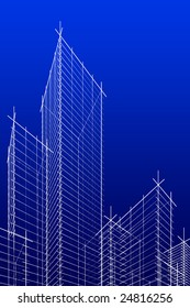 abstract wireframe skyscrappers. 3d rendering. Hi res.