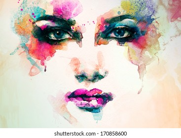 abstract woman face. watercolor illustration