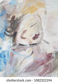 Abstract woman portrait painting. Contemporary art