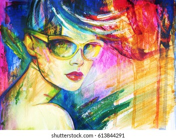 Abstract woman portrait with sunglasses. Acrylic painting.