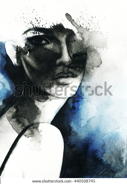 abstract  woman portrait. watercolor art .fashion background