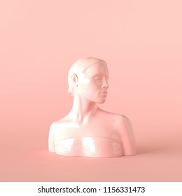 Abstract woman sculpture. Female sculpture on pastel pink background. Beauty and skincare concept. 3d illustrations