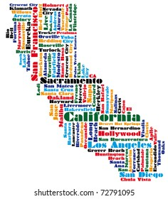 abstract word cloud based map of california state