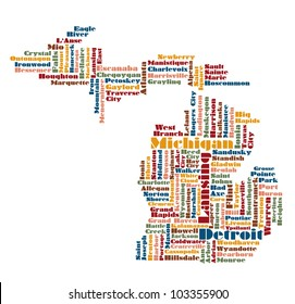abstract word cloud map of Michigan state, usa