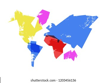 Abstract world map illustration in hand drawn paint brush style, concept art design with geometric continent shapes.