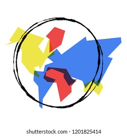 Abstract world map simple concept illustration, colorful geometric continent shapes with hand drawn planet earth outline.