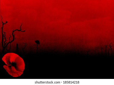 Abstract WW1 Battlefield Background with Poppy