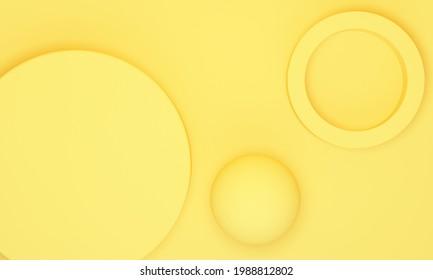 Arrière-plan jaune abstrait avec podium cylindrique et sphère. Vue de dessus. Rendu 3d