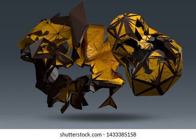 Abstract yellow and brown form with craquelure, 3d render /rendering