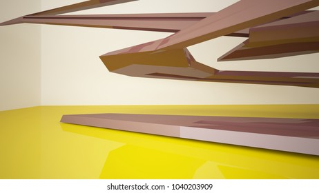 Abstract yellow and brown interior with window. 3D illustration and rendering.