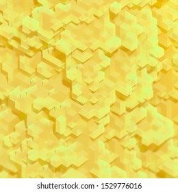 Abstract Yellow futuristic 3d background, cubes shape, 3D rendering, 3d render illustration color cubes