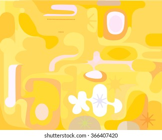 Abstract yellow illustration painting background with circular motion
