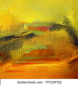 abstract yellow landscape with oil on canvas, painting, illustration