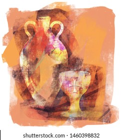 Abstract-inspired illustration of earthenware wine jug or amphora with grapes and communion cup with Christian cross embossing.