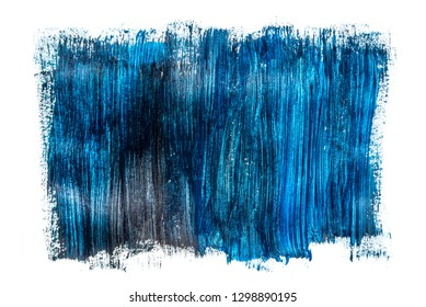 Abstraction for background, rectangular pattern with blue paint on white isolated background. Horizontal frame