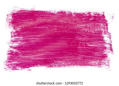 Abstraction for background, rectangular pattern with purple paint on white isolated background. Horizontal frame