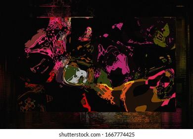 抽象ペイント – テンプレートポスター。抽象的な背景デザイン。アート図面 – テクスチャジオメトリック