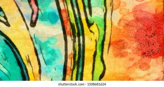 Abstraction painted in oil. Colorful texture background. Multicolored wallpaper graphic design. Pattern for creating artworks and prints. Crazy bright colors style. Cartoon draw.