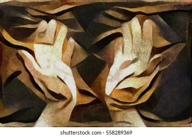 Abstraction with the palms facing the world and people. Executed in oil on canvas in the style of the bulk of cubism. Suitable for the concept of interior design or wall poster.