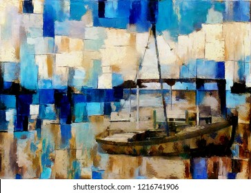 Abstraction in the style of cubism. Boat by the sea. The painting is executed in oil on canvas.