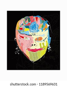 Abstrak art face colorfull