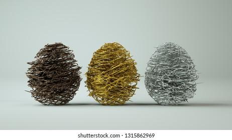 Abstrakt easter eggs on white background. 3D Illustration.