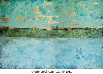 abstrakt turquoise gold horizon green blue