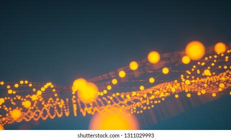 Abstrakte Lights Netzwerk – 3D Render
