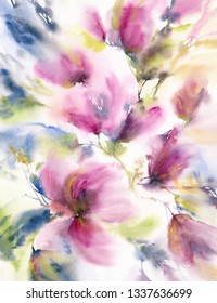 Abstrat flowers. Abstract floral background. Wedding invitation floral design. Floral greeting card. Watercolor delicate flowers.