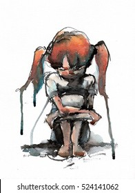 abstrat watercolor illustration of girl sitting and hugging her knees, handmade traditional artwork scanned
