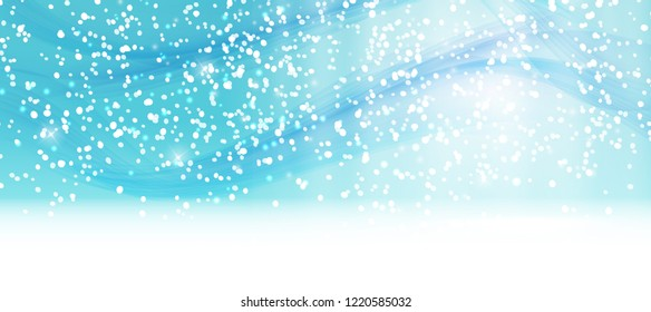 Abstrat Winter Snow Blue Background  Illustration