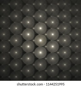 Abstrct Background. Glowing air balloons, Symmetrical pattern. Digital Art. Technologies of fractal graphics. Black and white.